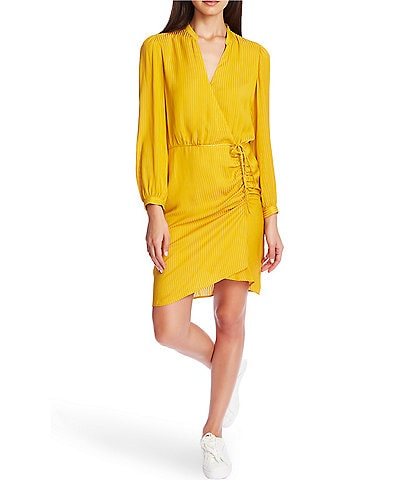 1. STATE Shadow Stripe Belted Faux Wrap Ruched Dress