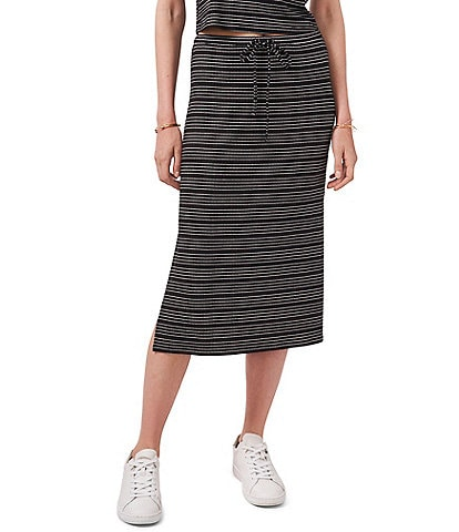 1. STATE Side Slit Tie Front Striped Knit Coordinating Skirt