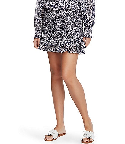 1. STATE Smocked Floral Ruffle Mini Skirt