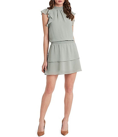 1. STATE Smocked Mock Neck Flutter Cap Sleeve Dress
