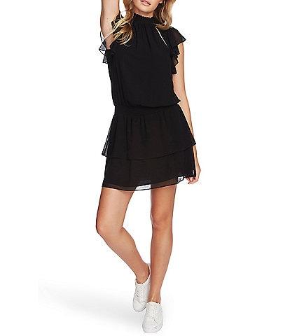 1. STATE Smocked Mock Neck Flutter Cap Sleeve Dress