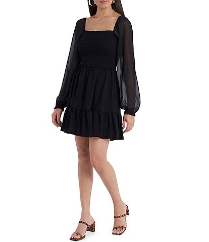 1. STATE Smocked Waist Ruffle Hem Long Sheer Sleeve A-Line Dress