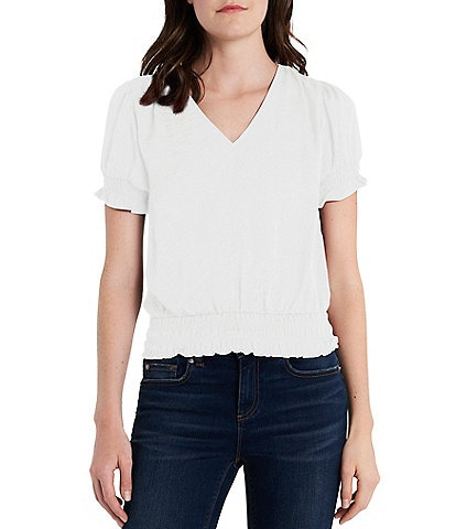 1. STATE Smocked Waist V-Neck Puff Sleeve Blouse