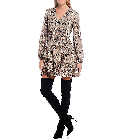 1. STATE Snake Print Wrap Front Mini Dress