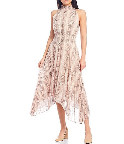 1. STATE Snake Skin Print Smocked Mock Neck Sleeveless Pleated Midi Dress