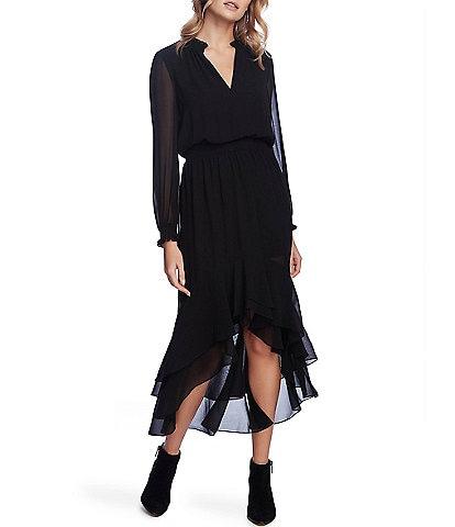1. STATE Split Collar Ruffle Hi-Low Midi Dress