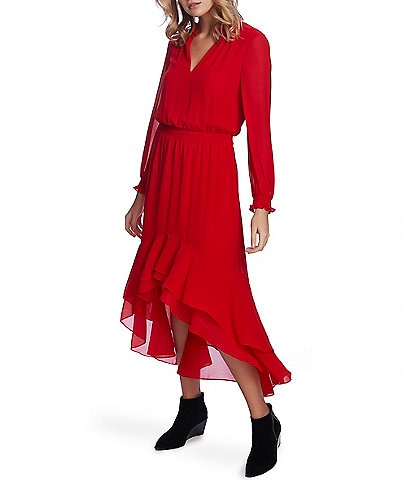 1. State Split Collar Ruffle Hi-Low Midi Dress