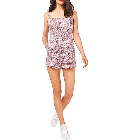 1. STATE Square Neck Sleeveless Tie Shoulder Ditsy Floral Romper