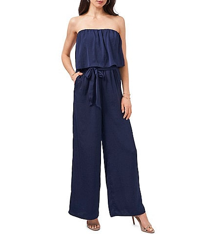 1. STATE Strapless Belted Ruffle Jumpsuit