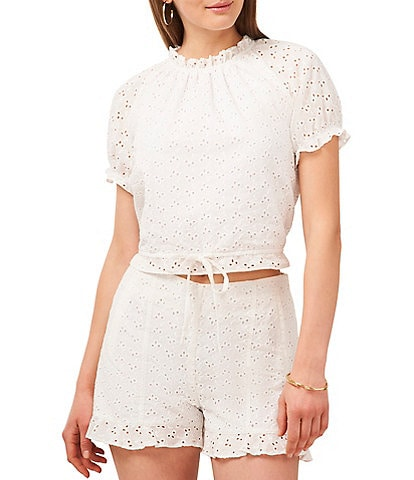 1. STATE Tie Front Ruffle Mock Neck Cropped Eyelet Top