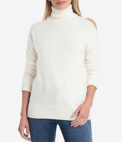 1. STATE Turtleneck Cold Shoulder Long Sleeve Sweater