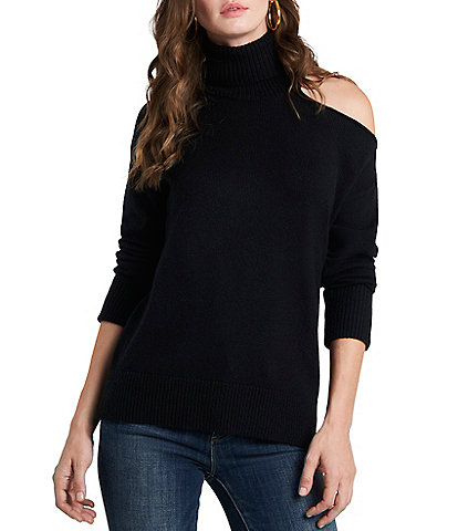 1. STATE Turtleneck Cold Shoulder Long Sleeve Sweater