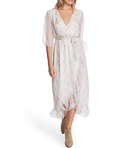 1. STATE V-Neck Elbow Sleeve Floral Wrap Ruffle Hem Midi Dress