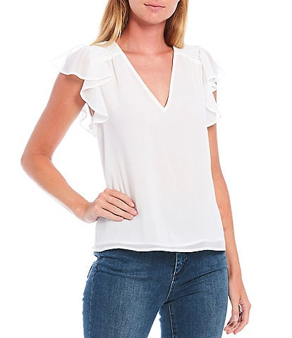 1. STATE V-Neck Flutter Sleeve Smocked Shoulder Detail Blouse