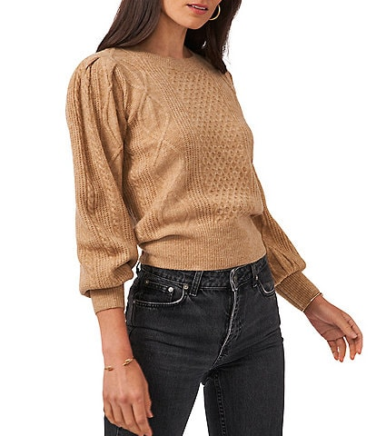 1. STATE Variegated Cables Crew Neck Long Puff Sleeve Sweater