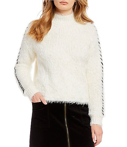 1. STATE Whipstitch Eyelash Mock Neck Sweater