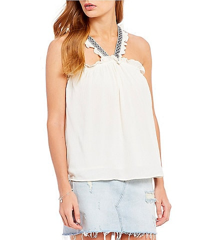 1. STATE Woven High Neck Embroidered Top