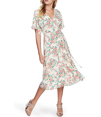1. STATE Wrap Front Bouquet Floral Print Short Sleeve V-Neck Midi Dress