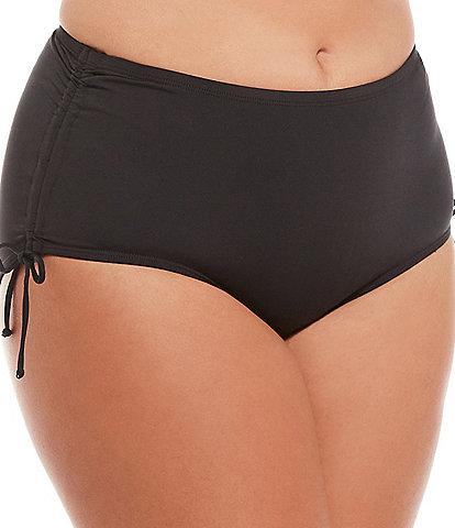 24th & Ocean Plus Size Solid Mid Waist Adjustable Side Tie Tummy Control Swim Bottom