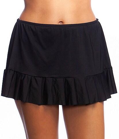 24th & Ocean Solid Mid Waist Pleated Tummy Control Swim Skirt