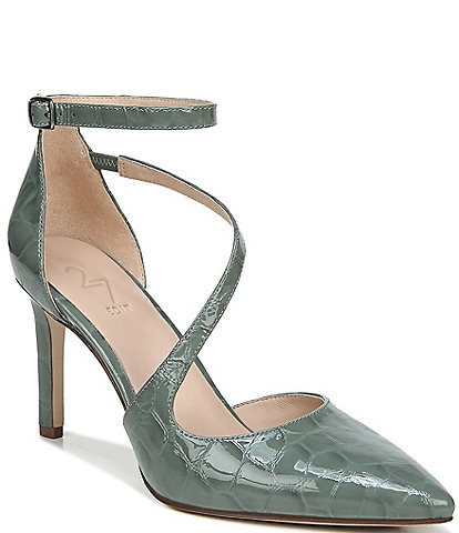 27 EDIT Abilyn Croc Embossed Leather Ankle Strap d'Orsay Pumps