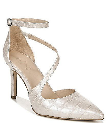 27 EDIT Naturalizer Abilyn Croc Embossed Leather Ankle Strap d'Orsay Pumps