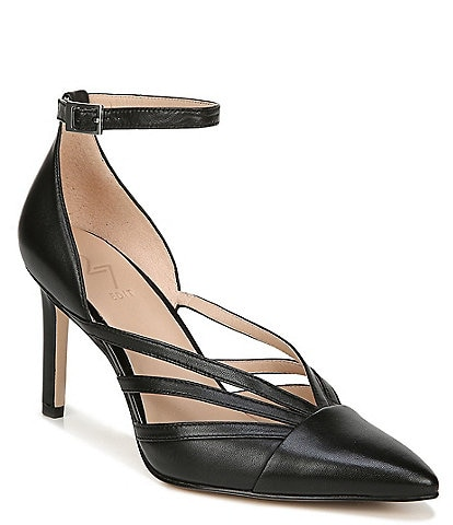 27 EDIT Abree Leather Ankle Strap Pointed Toe Pumps