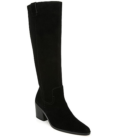 27 EDIT Bellamy Suede Tall Shaft Block Heel Boots