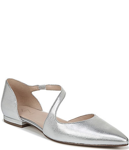27 EDIT Heather Asymmetrical Metallic Flats