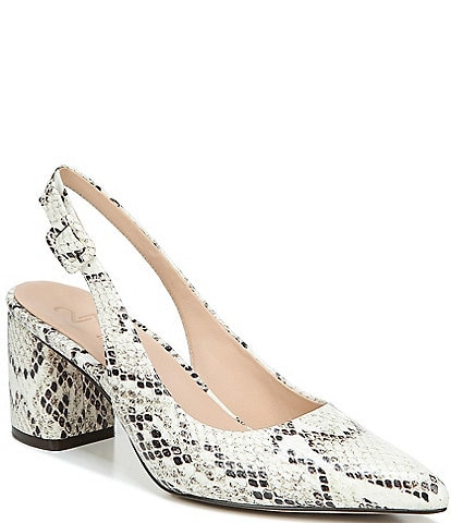 27 EDIT Meera Snake Print Leather Slingback Block Heel Pumps