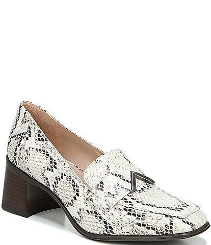27 EDIT Tayla Snake Print Leather Block Heel Dress Loafer Pumps
