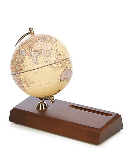 5#double; Antique Globe With Name Card Holder