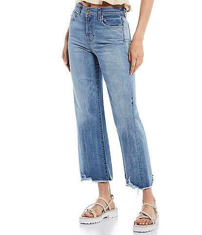7 for all mankind Alexa Destroyed Hem High Rise Cropped Jeans