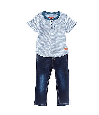 7 for all mankind Baby Boys 12-24 Months Short-Sleeve Henley Tee & Denim Jean Set