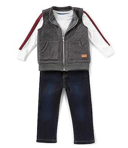 7 for all mankind Baby Boys 12-24 Months Three-Piece Tee, Vest, and Jean Set