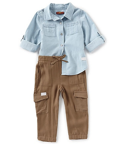 7 for all mankind Baby Girls 12-24 Months Long Sleeve Chambray Button Down & Cargo Jogger Pants Set
