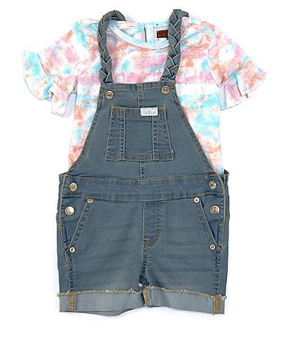 7 For All Mankind Baby Girls 12-24 Months Tie Dye Short Sleeve Tee & Braided Denim Shortall Set