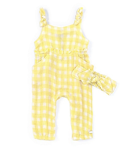 7 for all mankind Baby Girls Newborn-9 Months Gingham Crinkled Coverall