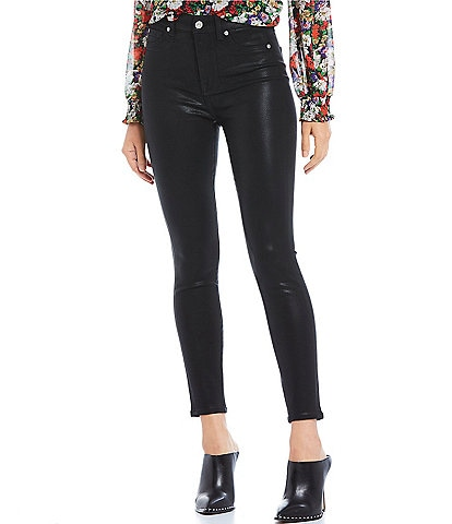 7 for all mankind Coated High Waist Ankle Skinny Jeans