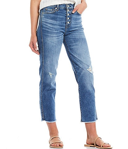 7 for all mankind Exposed Button Fly High Waist Destruction Detail Straight Cropped Jeans