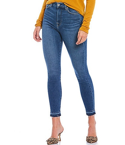 7 For All Mankind High Waist Ankle Skinny Released Hem Jeans
