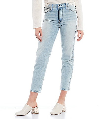 7 for all mankind High Waisted Scalloped Side Seam Straight Leg Jeans