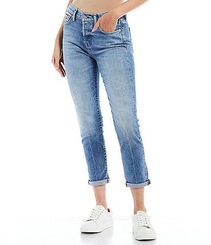 7 for all mankind Josefina Blue Wash Finish Rolled Hem Boyfriend Jeans
