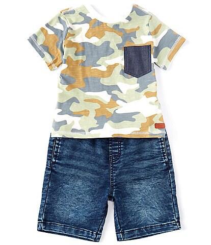 7 for all mankind Little Boys 2T-4T Camo Print Short Sleeve Pocket Top & Knit Denim Shorts Set