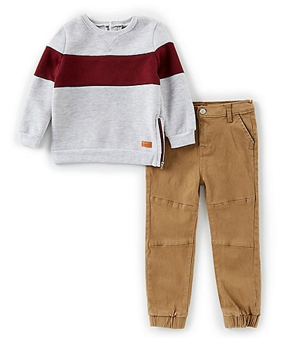 7 for all mankind Little Boys 2T-4T Long Sleeve Colorblock Sweater & Joggers Set