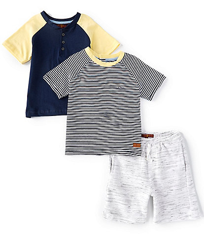 7 For All Mankind Little Boys 2T-4T Months Stripe Short Sleeve Tee, Colorblocked Henley, & Knit Shorts Set
