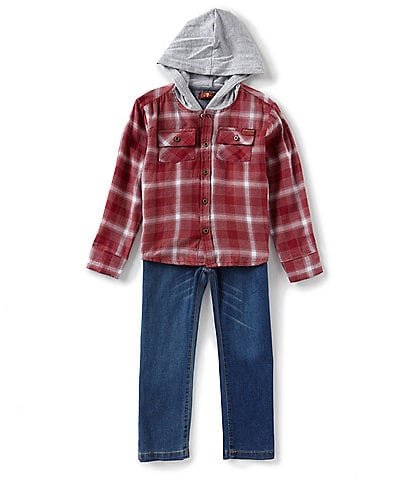 7 for all mankind Little Boys 2T-4T Plaid Hooded Button Front Shirt & Denim Pants Set