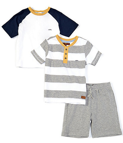7 for all mankind Little Boys 2T-4T Stripe Henley Tee, Colorblock Raglan Tee, & Pull-on Knit Shorts 3-Piece Set