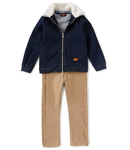 7 for all mankind Little Boys 2T-4T Three-Piece Denim Jacket, Tee, and Pant Set