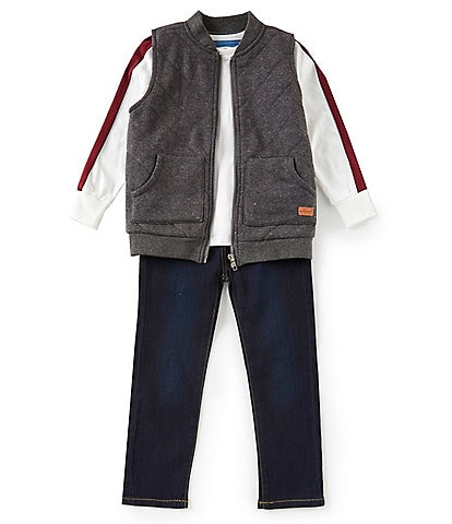 7 for all mankind Little Boys 2T-4T Three-Piece Tee, Vest, and Jean Set
